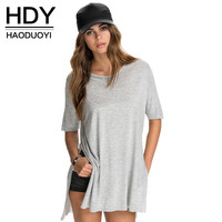 HDY Haoduoyi 2017 Summer Fashion  Solid Side Split Tops New Casual Loose Tees Stepped Hem Long Basic Women T-shirt