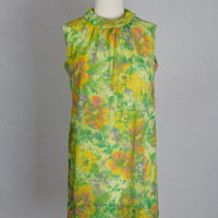 Vintage 60's Mod Watercolor Floral Mini Shift Dress L
