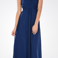 Sweetheart Strapless Ruched Bodice Lace Up Back Long Bridesmaids Dress Navy Blue
