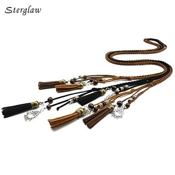170cm vintage braided rope pu waist belts for women roupa feminina 2017 designer Harness for female leather on the body J112