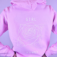 Girl Power Rose Women's Casual Black Gray Pink & White Pullover Hoodie