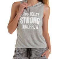 Heather Gray Strong Graphic Muscle Hoodie by Charlotte Russe