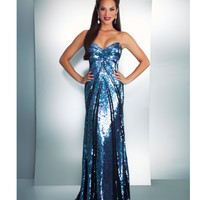 Mac Duggal Prom 2013- Black Iridescent Strapless Gown - Unique Vintage - Cocktail, Pinup, Holiday & Prom Dresses.