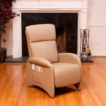 Royce Camel Tan Leather Recliner Club Chair