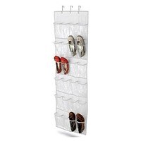 Clear White Shoe Organizer Shoe Rack - Hangs Over Door