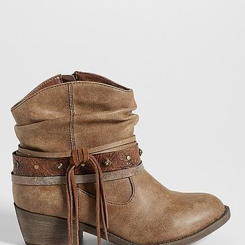 Joan western style ankle bootie in brown | maurices