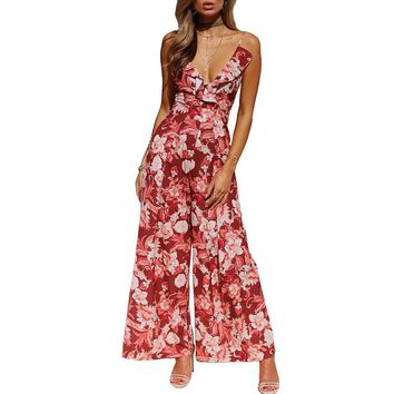 Sexy Floral Print Boho Beach Women Jumpsuits Sleeveless Backless Playsuits Casual Romper Overalls