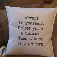 Be a Unicorn decorative throw pillow cover door TwirlyGirlTees