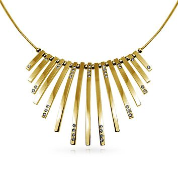 Fan Bars Statement Collar Necklace Crystal Gold Tone Stainless Steel