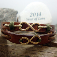FREE SHIPPING - Men Bracelet,Couple Bracelets,Men's leather bracelet,brown leather with gold eternity symbol