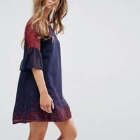 Yumi Petite Frill Sleeve Shift Dress In Leaf Border Print at asos.com