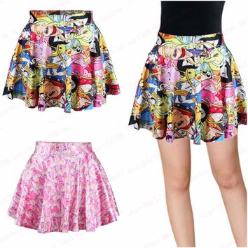 Sweet Adventure Time Printed MiniSkirts Ladies Kawaii Summer Pleated Running Miniskirt Tutu Party Saia