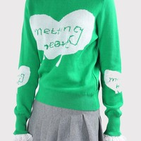 Green Patchwork Lace Monogram Heart Print False 2-in-1 Pullover Sweater