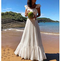 New women's slings with large color lace dress