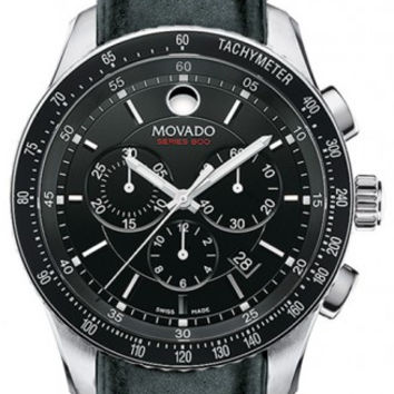Movado Series 800 Men's Black Dial Black Bezel Chronograph Stainless Steel Black Leather Strap 42mm Watch 2600096