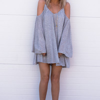 Lora Off Shoulder Dress- Grey