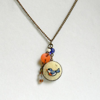 Bird Embroidered Charm Necklace, Handmade Cross Stitch Charm Necklace, Bird Pendant, Brass chain