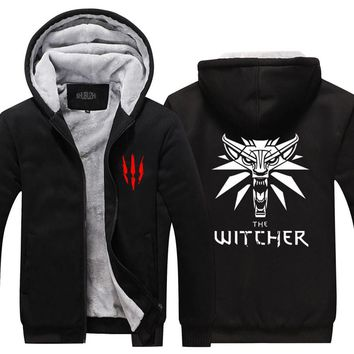 Mens Hoodie winter The Witcher 3 Thicken Fleece Iron Wolf clothes With velvet  clothing zipper jacket hoodie USA size EURO SIZE