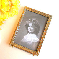 Vintage Gold Picture Frame 5x7 Mid Century Photo Frame Ornate Frame Gold tone metal old picture frame tabletop easel footed display