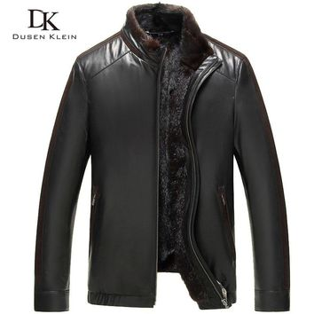 Dusen Klein men fur coat Genuine sheepskin Slim/business style Designer mink collar+Liner Winter leather jackets 61J5856