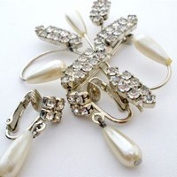 Pearl Clear Rhinestone Brooch Earrings Set Silver Vintage Art Deco
