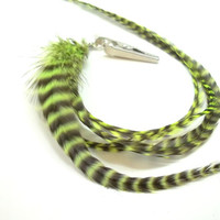 Feather Hair Falls, UV REACTIVE Extra Long Grizzly Rooster Feather Hair Extension Clip, Ready to Sip, Boro Ballers