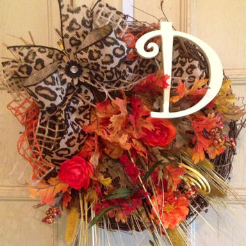 Fall Burlap Floral Grapevine Wreath, Fall Grapevine Wreath, Fall Monogram Wreath, Grapevine Floral Wreath, Floral Fall Wreath, Thanksgiving