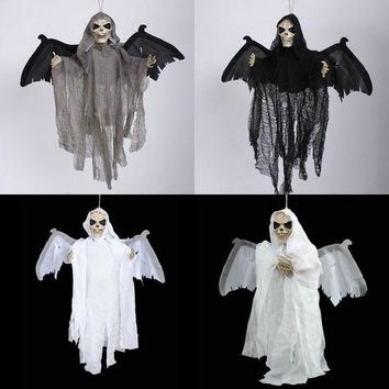 ONETOW Halloween haunted house horror ghost vampire bats hanging ghost face luminous voice [9047582087]
