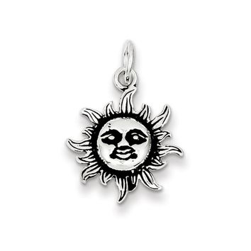 Sterling Silver 17mm Antiqued Sun Pendant