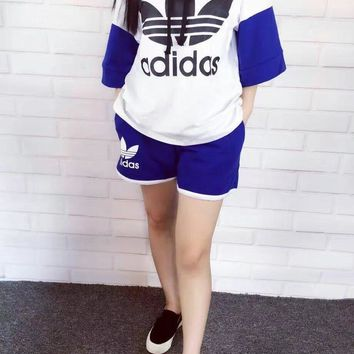 """Adidas"" Women Sport Casual Multicolor Letter Print Hooded Short Sleeve Shorts Set Two"