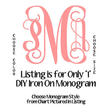 DIY Iron On Monograms, Personalized T-Shirt, One Iron On Monogram