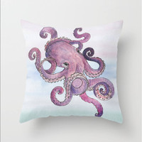 Octopus Pillow Cover Nautical Watercolor  Purple Pattern Indoor or Outdoor Material Nautical  Fisherman Pillow Case Decor Square Pillow