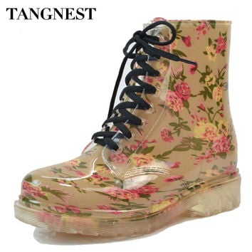 Tangnest 2017 Women's Rain Boots Spring  Round Toe Rubber Shoes Floral Leopard Lace-Up Ankle Boots Woman Big Size 36-40 XWX2327