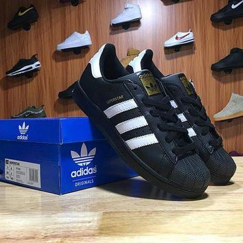 LMFON Adidas Superstar Shell-toe Flats Sneakers Black White Causel Sport Shoes