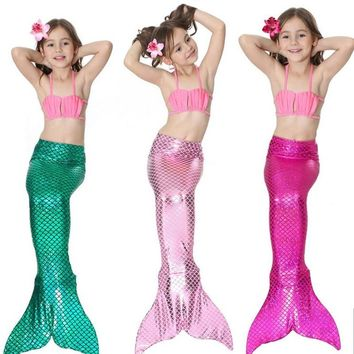Melario Girls Clothing Sets 2018 New Summer Girls Dress Little Mermaid Tail Bikini Suits Swim Costume 3PCS For 3-12 Years