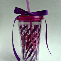 Purple insulated Zebra Tumbler