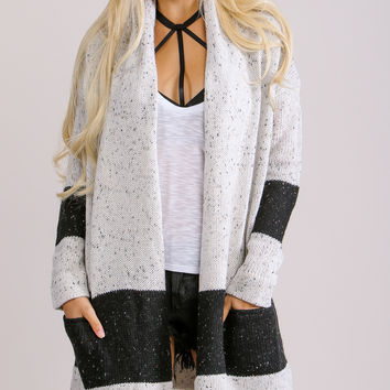 Easeful Black and Light Grey Cardigan Sweater