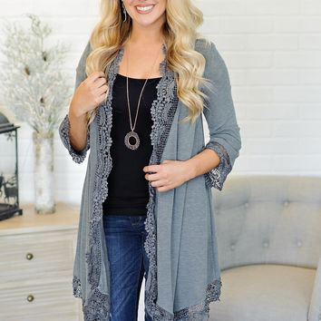 * Traci 3/4 Sleeve Cardigan With Lace Trimmed Hemline : Grey