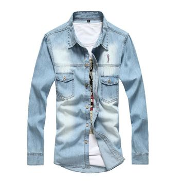 Dudalina 2017 Brand Men's Denim Long Sleeve Shirt Brand Clothing Male Slim Fit Shirts Denim Men Jeans Shirt Camiseta Masculina