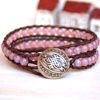 Boho Leather Bracelet, Shabby Chic, Czech Glass Beads, 2 Wrap