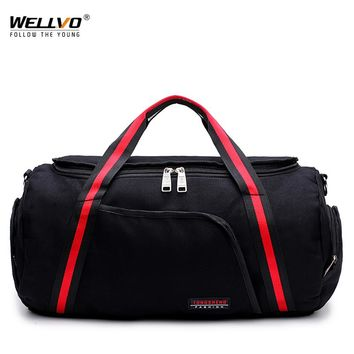 Wellvo Travel Duffle Men Canvas Portable Bag Carry on Luggage Bags Men Overnight Patchwork Tote Large Weekend Shoulder XA76WC