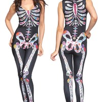 Echoine Sugar Skull Adult Womens Halloween Catsuit Costume Sexy Sleeveless Bodycon Night Club Jumpsuits Celebrate Holiday Romper