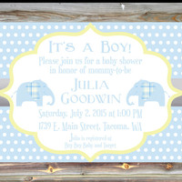 Personalized Custom Color Boy Baby Shower Invitation - Elephant Theme Baby Shower Invite - Polka Dot Baby Shower Invite - Blue and Yellow