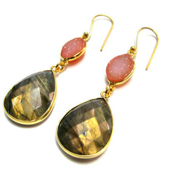 24kt. Gold Plated Bezel Earring pair, Chekker Cut Faceted Labradorite and Orange Druzy Gemstone Jewellery Beautiful valentine day Gift