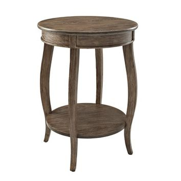Powell Driftwood Round Table with shelf