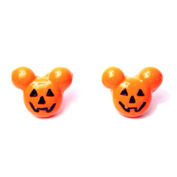 Handmade Mickey Mouse Inspired Polymer Clay Jack-o-lantern Mickey Halloween Earrings -Halloween Time Disney Inspired