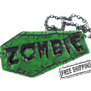 Zombie necklace - psychobilly jewelry - zombie apocalypse - zombie jewelry coffin necklace - horror jewelry - deathrock - zombie costume