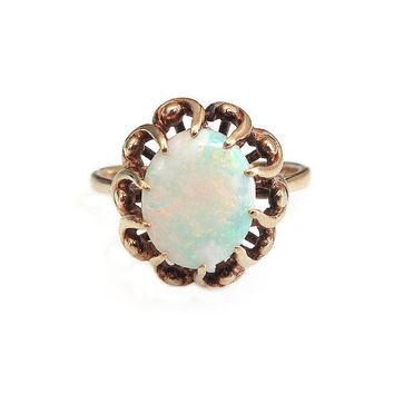 14K Opal Ring, Gold 585, English UK, Opal Gemstone, Mid Century, Vintage Ring, Vintage Jewelry, October Birthstone, Size 8.75