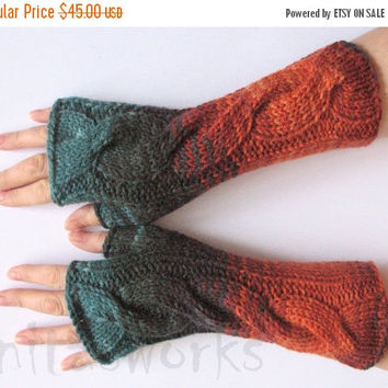 SALE Fingerless Gloves Brown Orange Blue Black Beige Azure Wrist Warmers