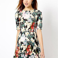 Floral Short Sleeve Shirtwaist A-line Mini Dress